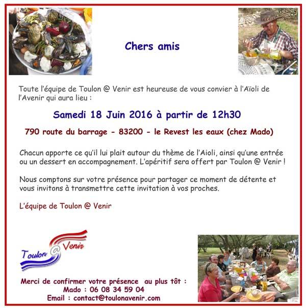 Assemblée Générale 2016 et Aïoli de Toulon @ Venir